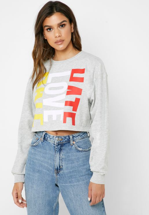 Crop Slogan Sweatshirt