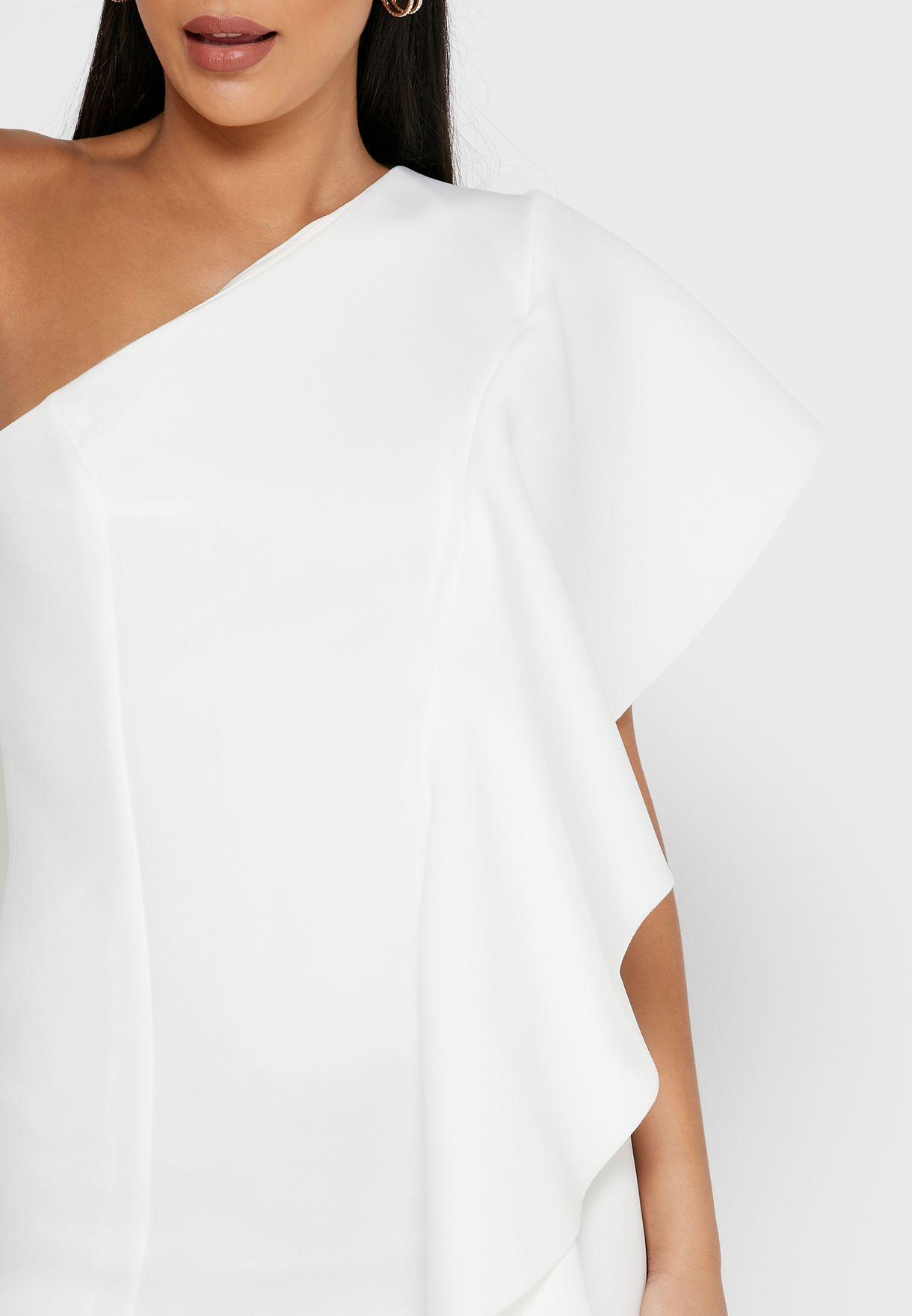 One Side Ruffle Mini Dress