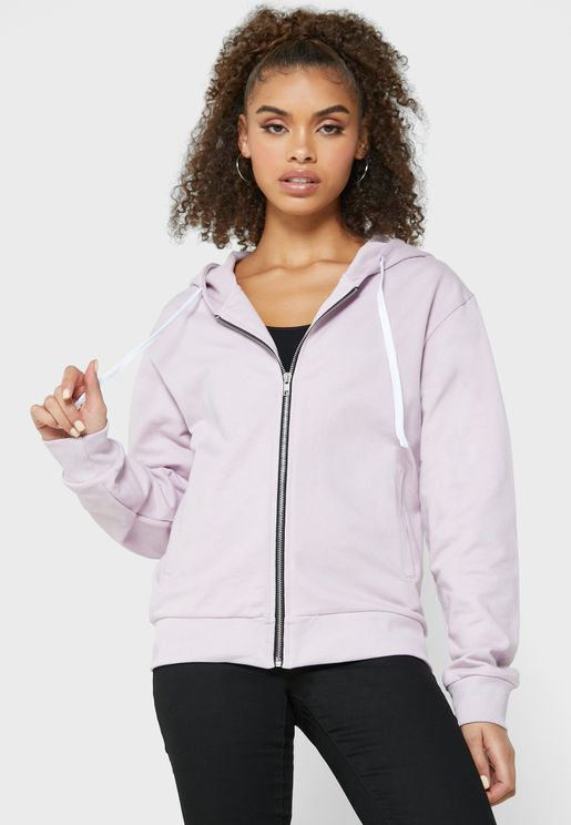 Slogan Zip Through Hoodie