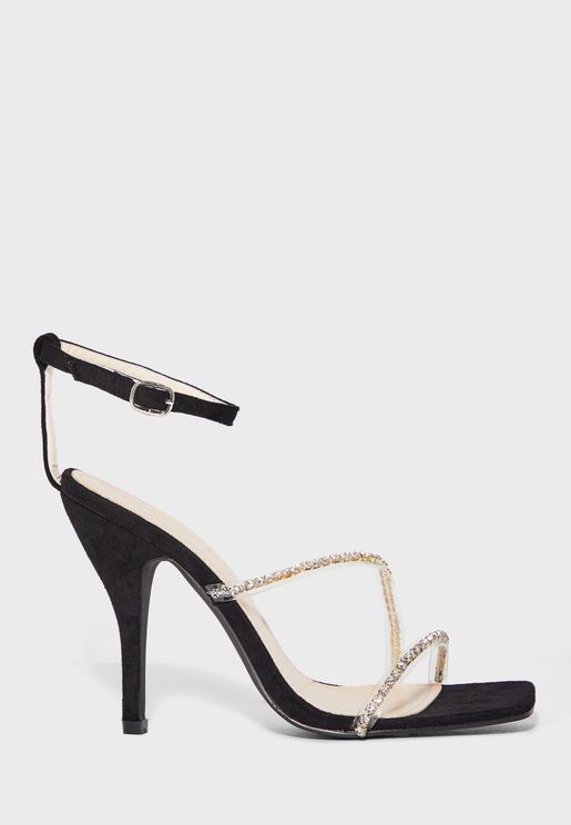 Square Toe  Diamante Strap Stiletto Sandal