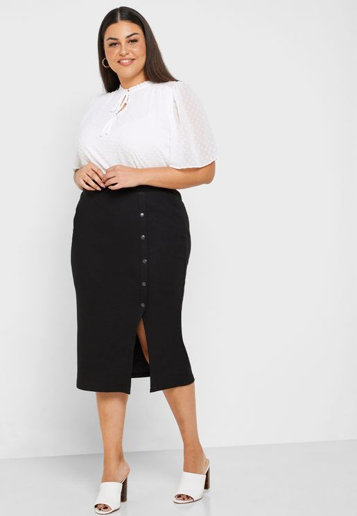Button Down Pencil Skirt