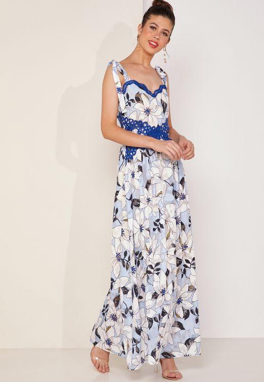 فستان مكسي بحمالات مزين بالترتر
