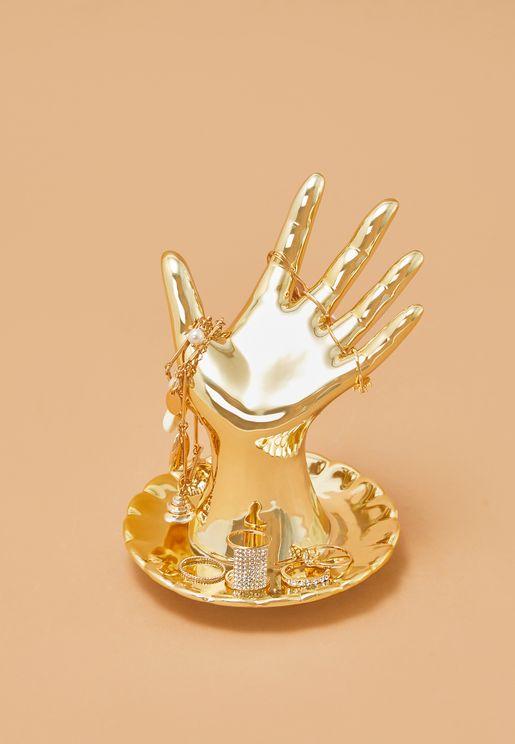 حامل مجوهرات بشكل كف اليد