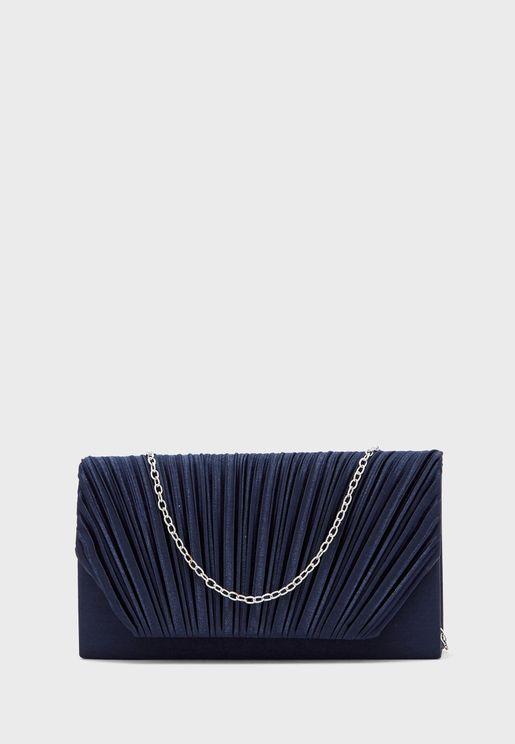 Pleated Satin Clutch Bag