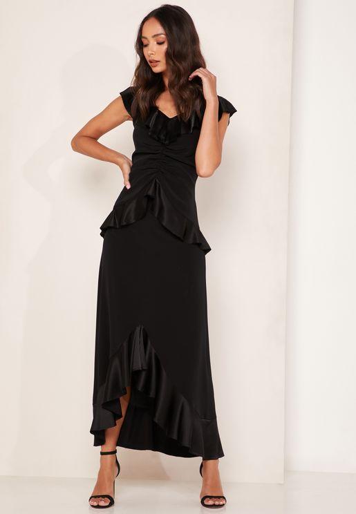Zoe Bardot Ruched Satin Ruffle Hem Dress
