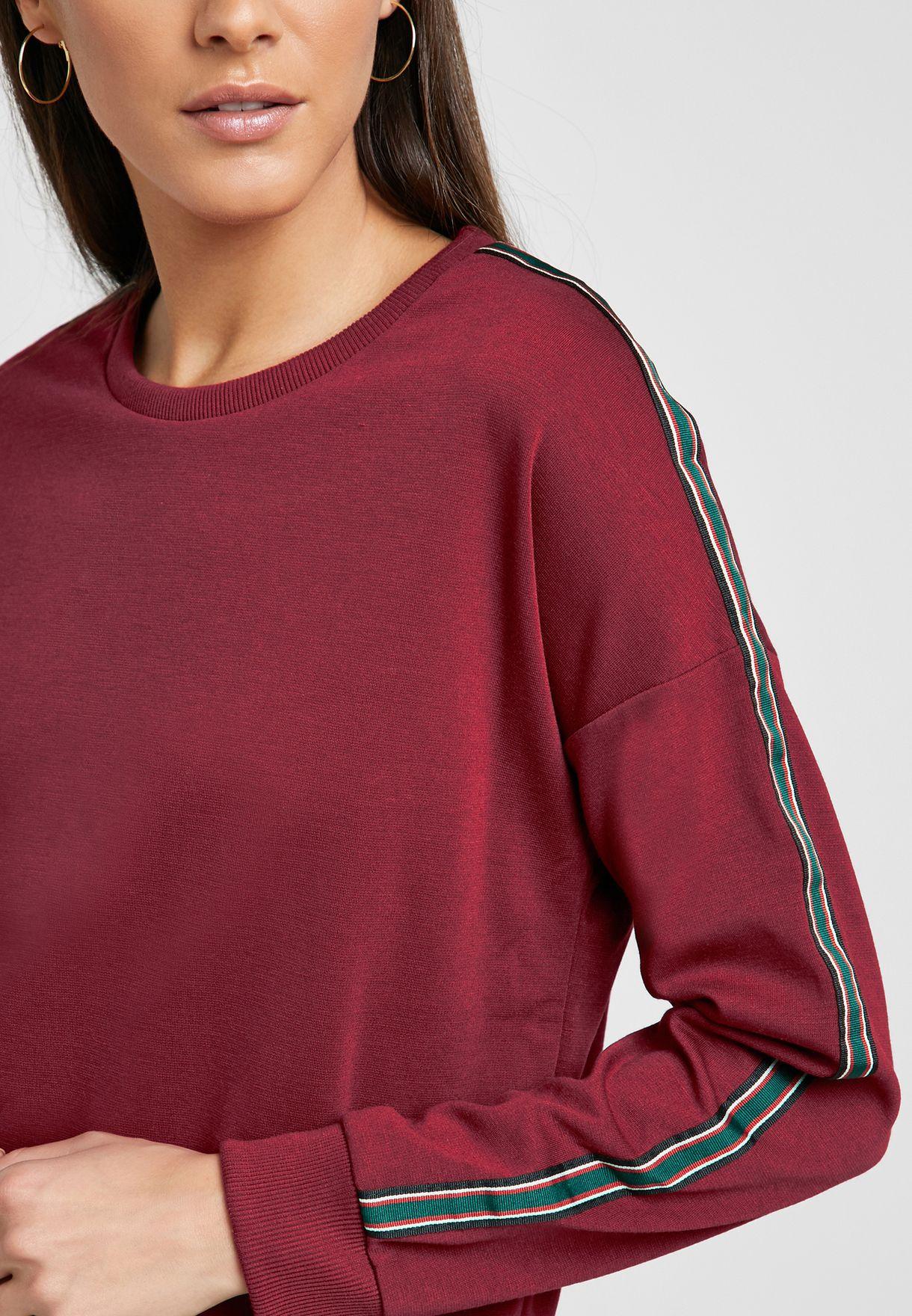 Contrast Tape Sleeve Sweatshirt