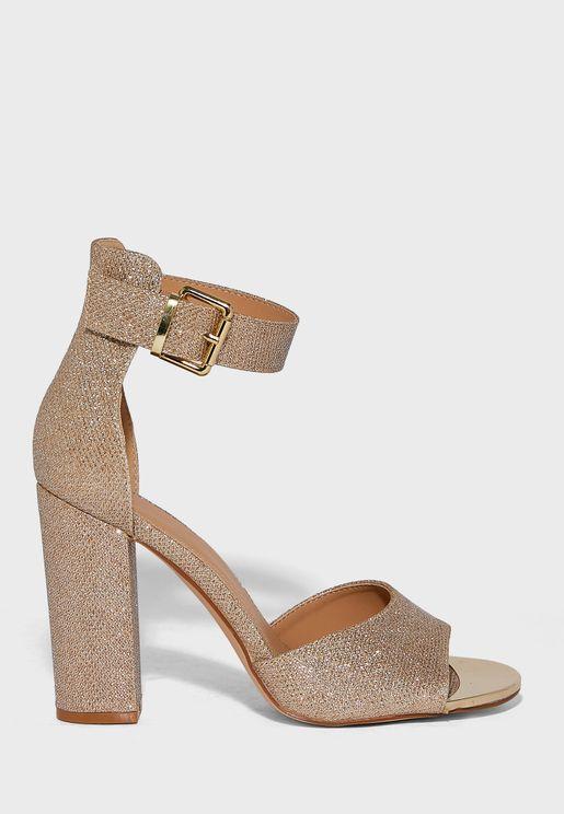 Shimmer Ankle Strap Block Heel Sandal