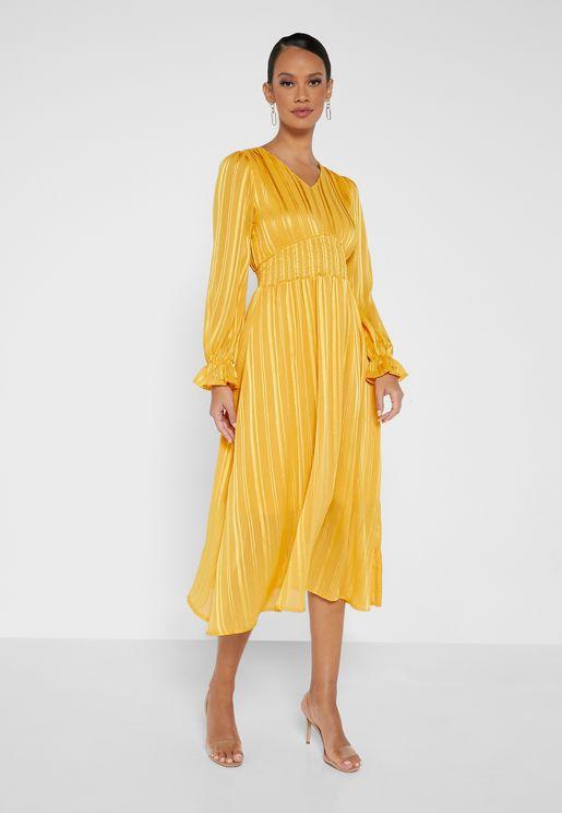 Puff Sleeve A-Line Dress
