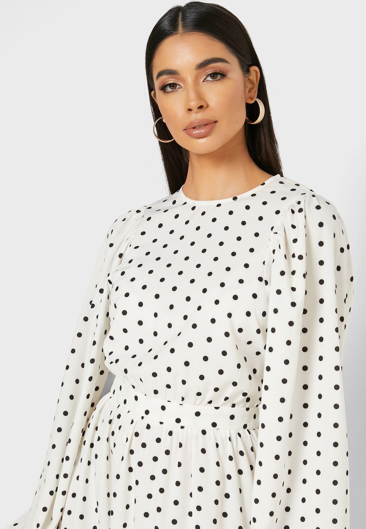 Polka Dot Puffed Sleeve Maxi Dress