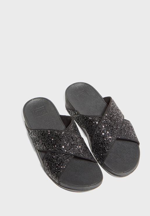 Lulu Glitter Cross Wedge Sandal