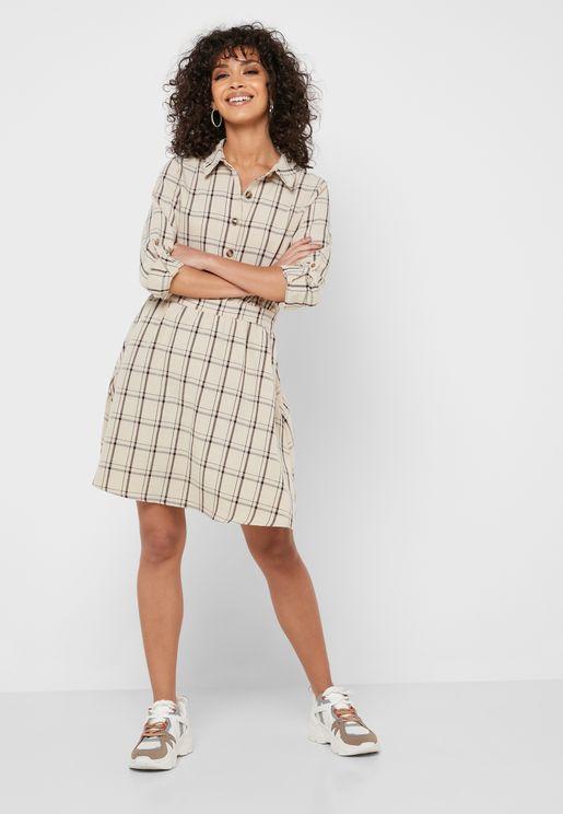 Checked Shirt Mini Dress