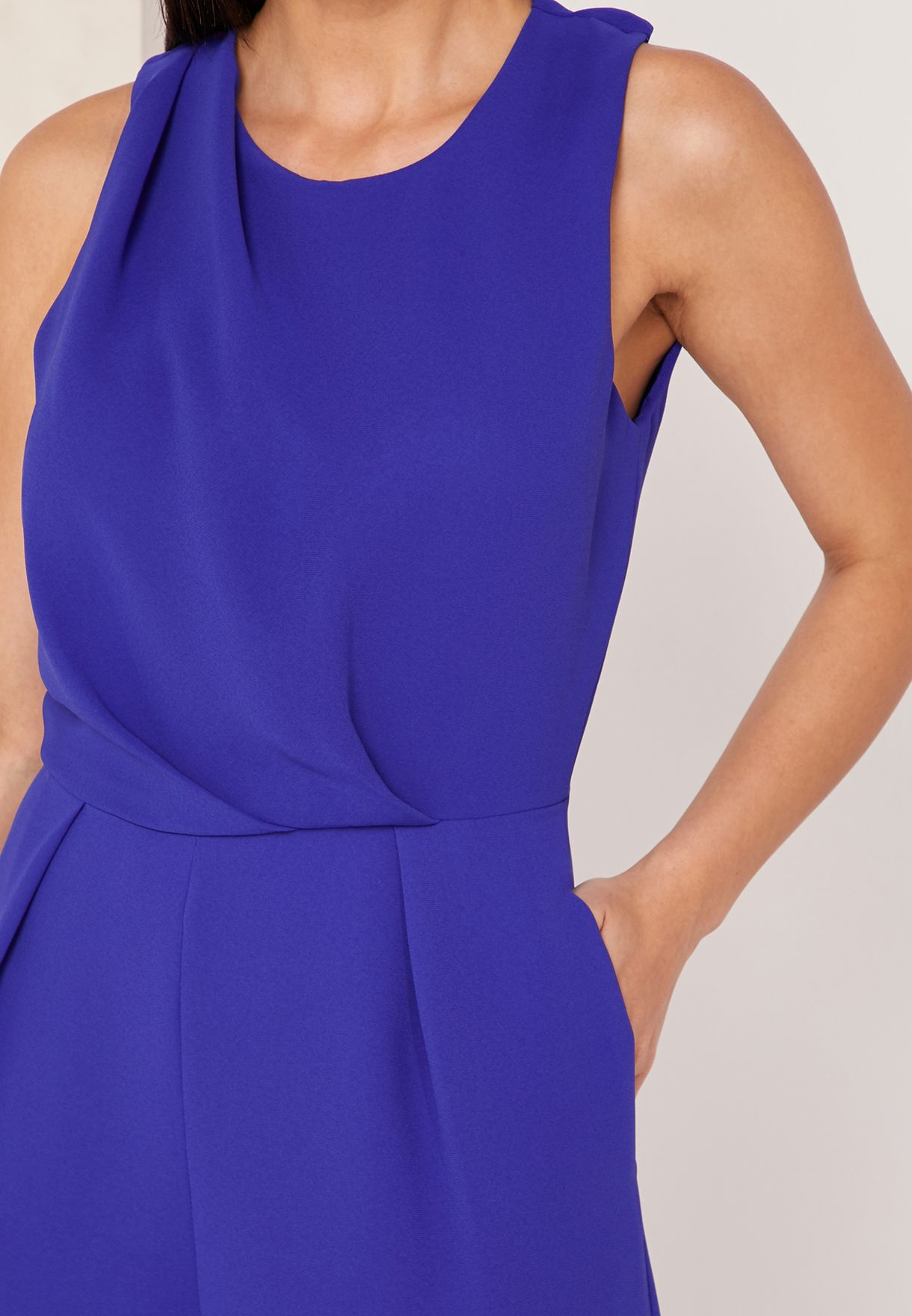 Me Chey Pleated Neck Jumpsuit