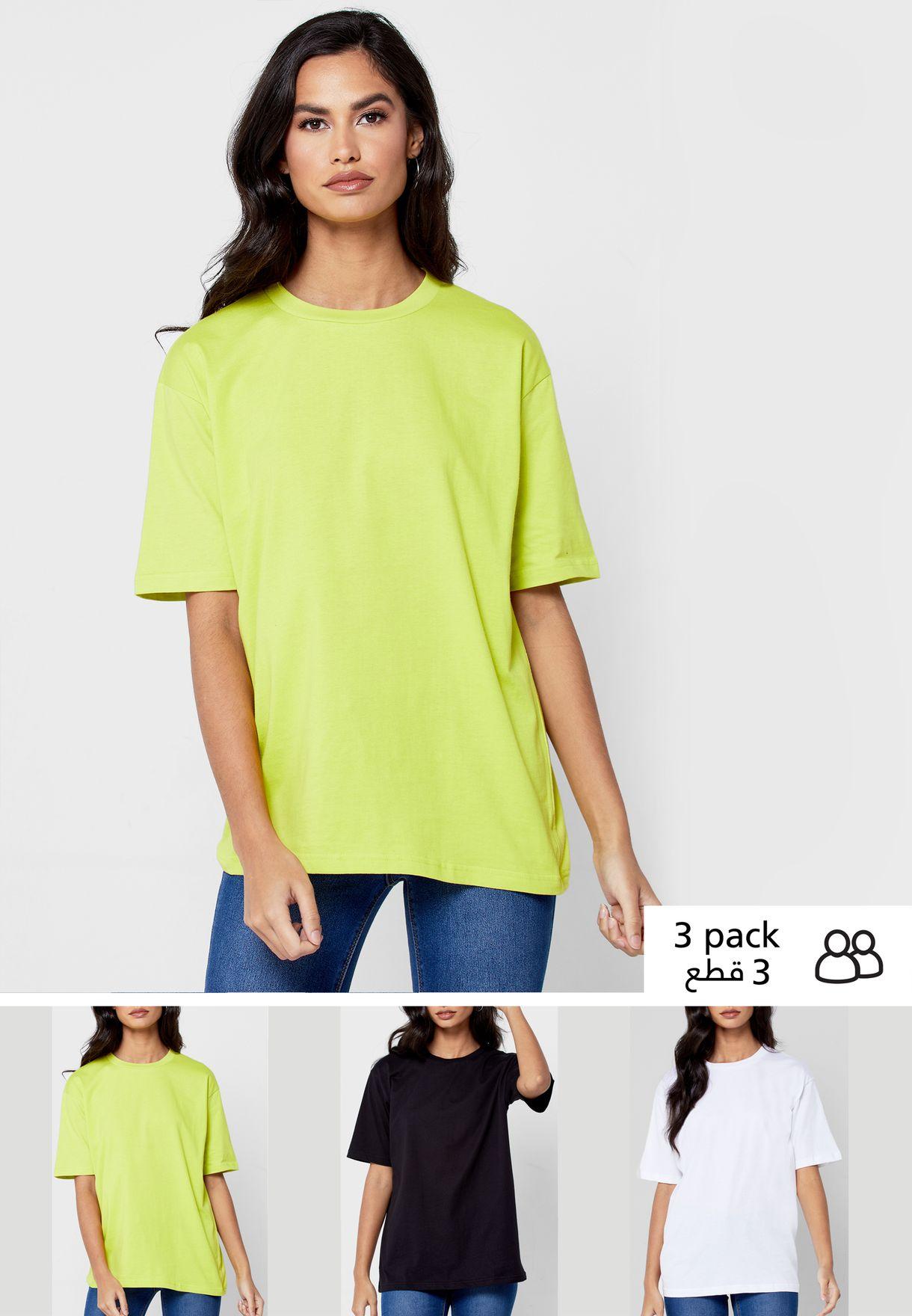 3 Pack Oversized Crew Neck T-Shirt