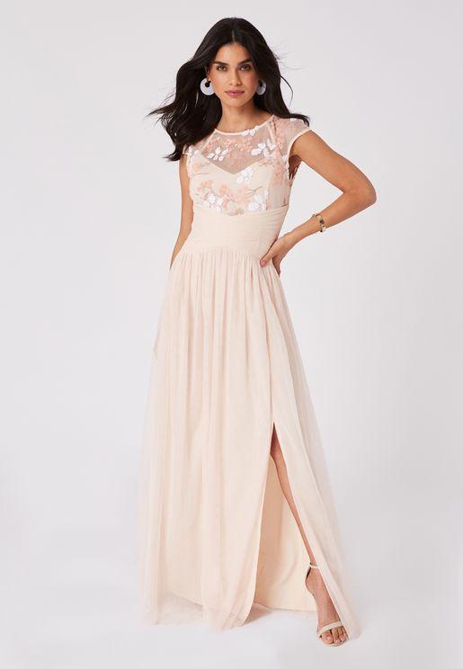Front Split Mesh Detail Pleated Dress