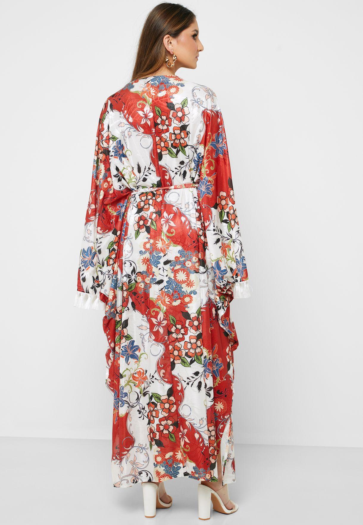 فستان مطبع مزين بشراريب