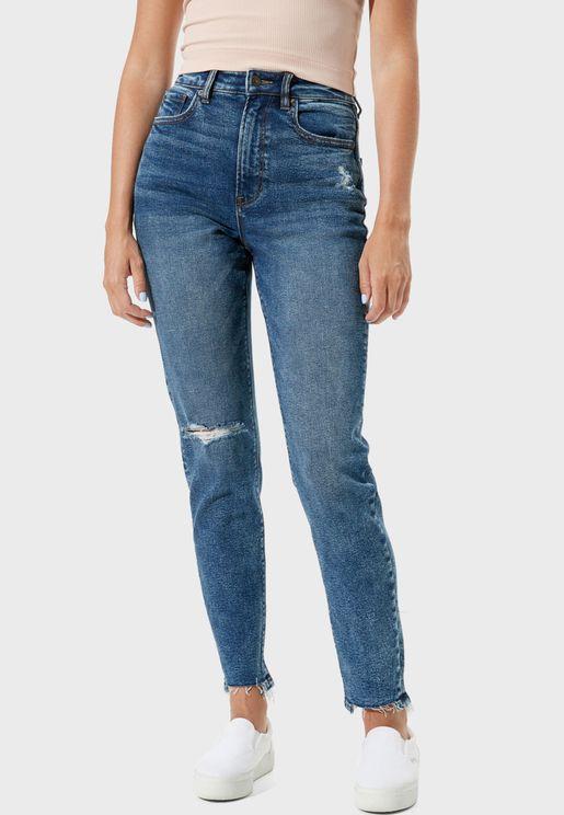 Raw Hem Distressed Jeans