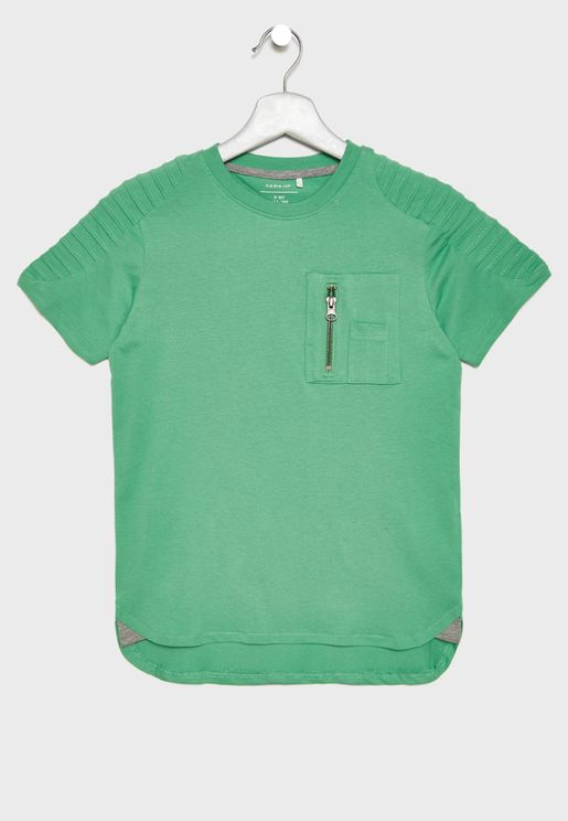 Kids Shoulder Detail Organic Cotton T-Shirt