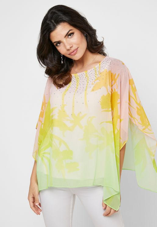 Printed Sheer Kaftan Top