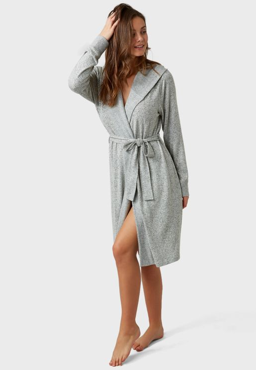 Tie Waist Hooded Robe