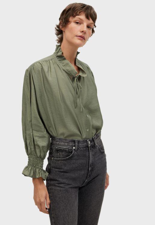 قميص مكشكش بأكمام واسعة