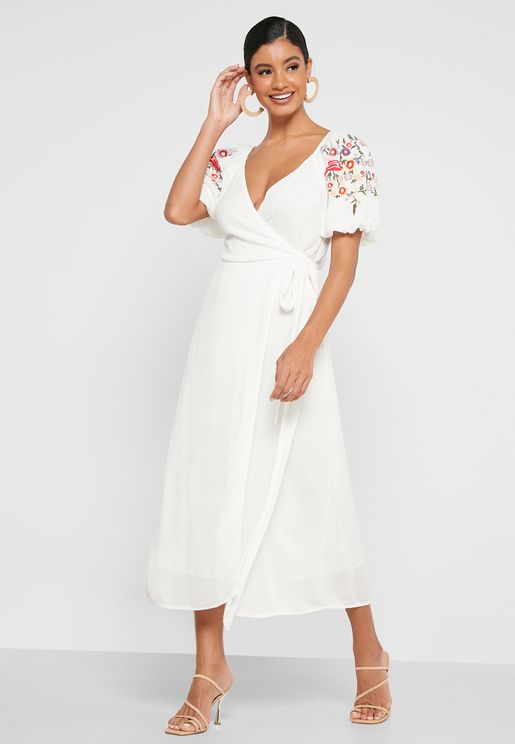 Embroidered Wrap Midaxi Dress