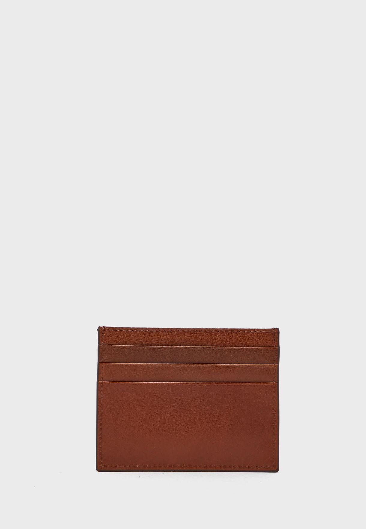 محفظة جلد بشعار الماركة