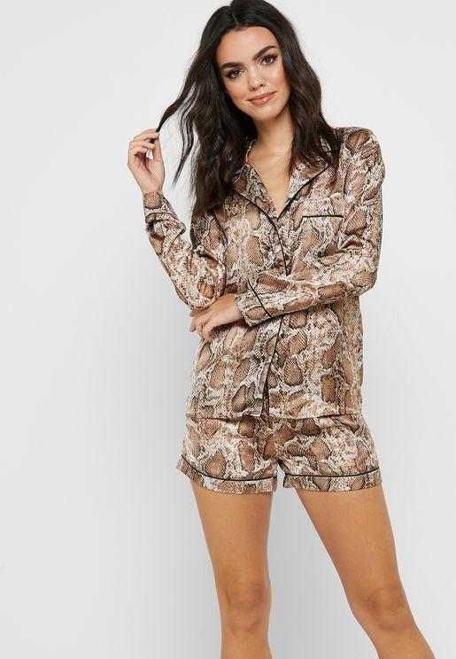 Snake Print Long Sleeve Pyjama Set. Missguided 2e890b5a6