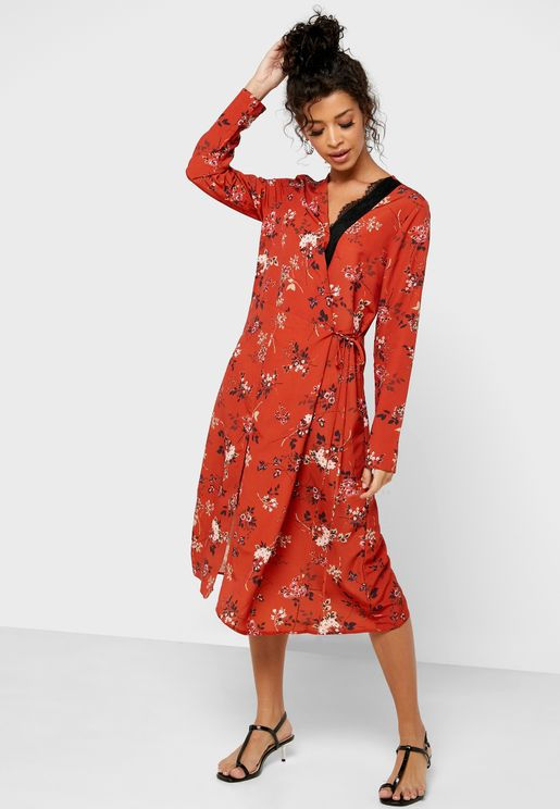 Floral Print Side Split Wrap Dress