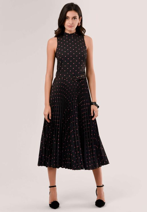 High Neck Printed Pleated Dress