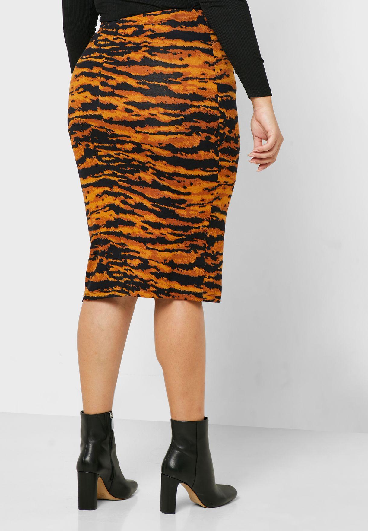 تنورة ماكسي بطبعات جلد نمر