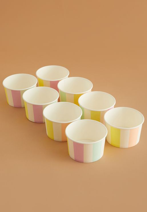 Striped Ice Cream Cups 8 Pack