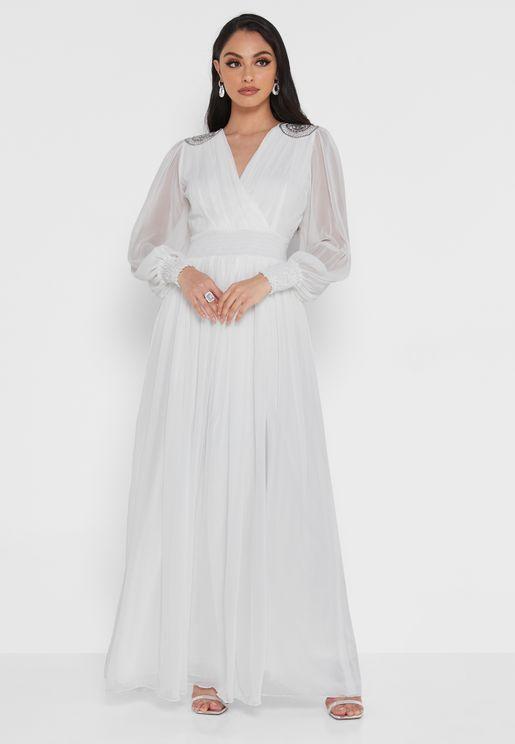 Shoulder Embroidered Chiffon Dress