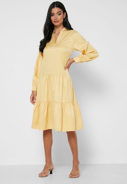 Tiered Puffed Sleeve Dress