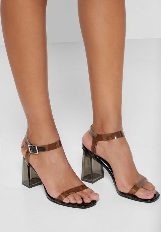 Persplex Ankle Strap Block Heel Sandal