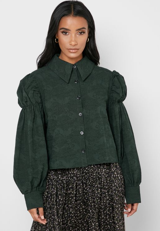 Pleat Detail Balloon Sleeve Shirt