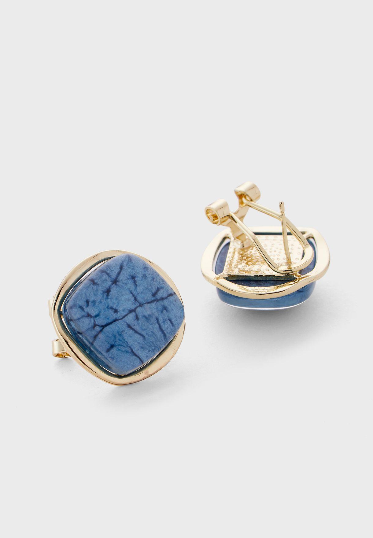 Navy Stone Square Stud Earrings