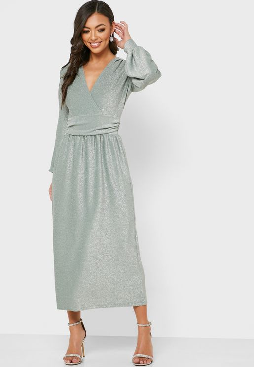 Glitter Surplice Dress