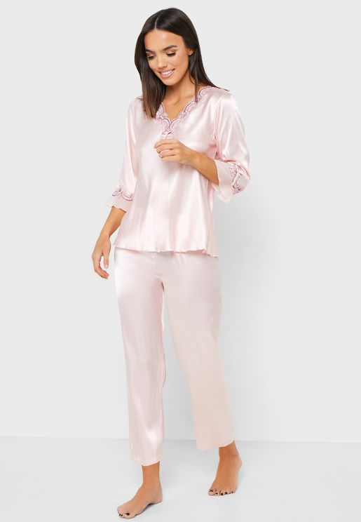 Satin Embroidered Pyjama Set