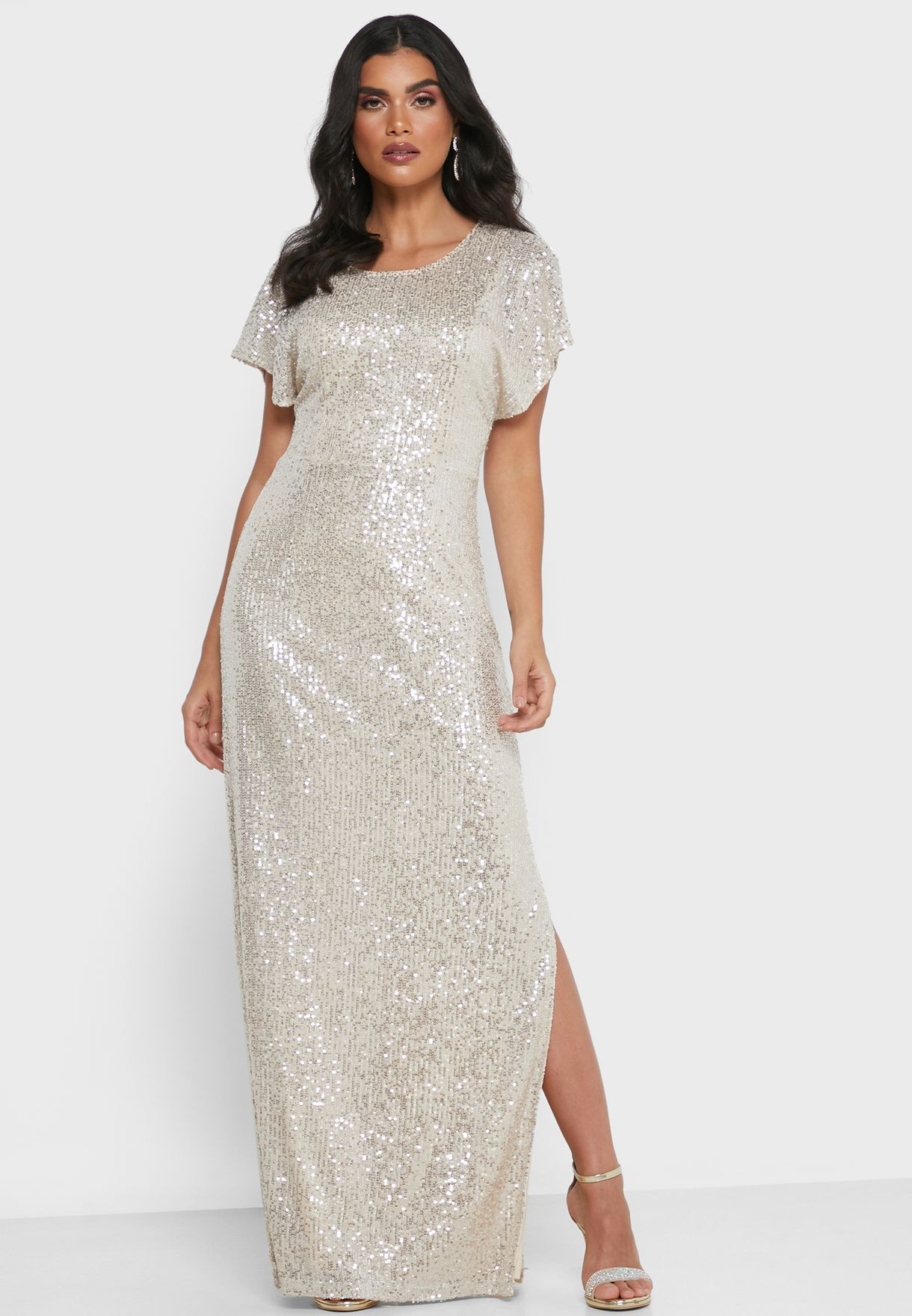 Kaftan Sleeve Sequin Dress