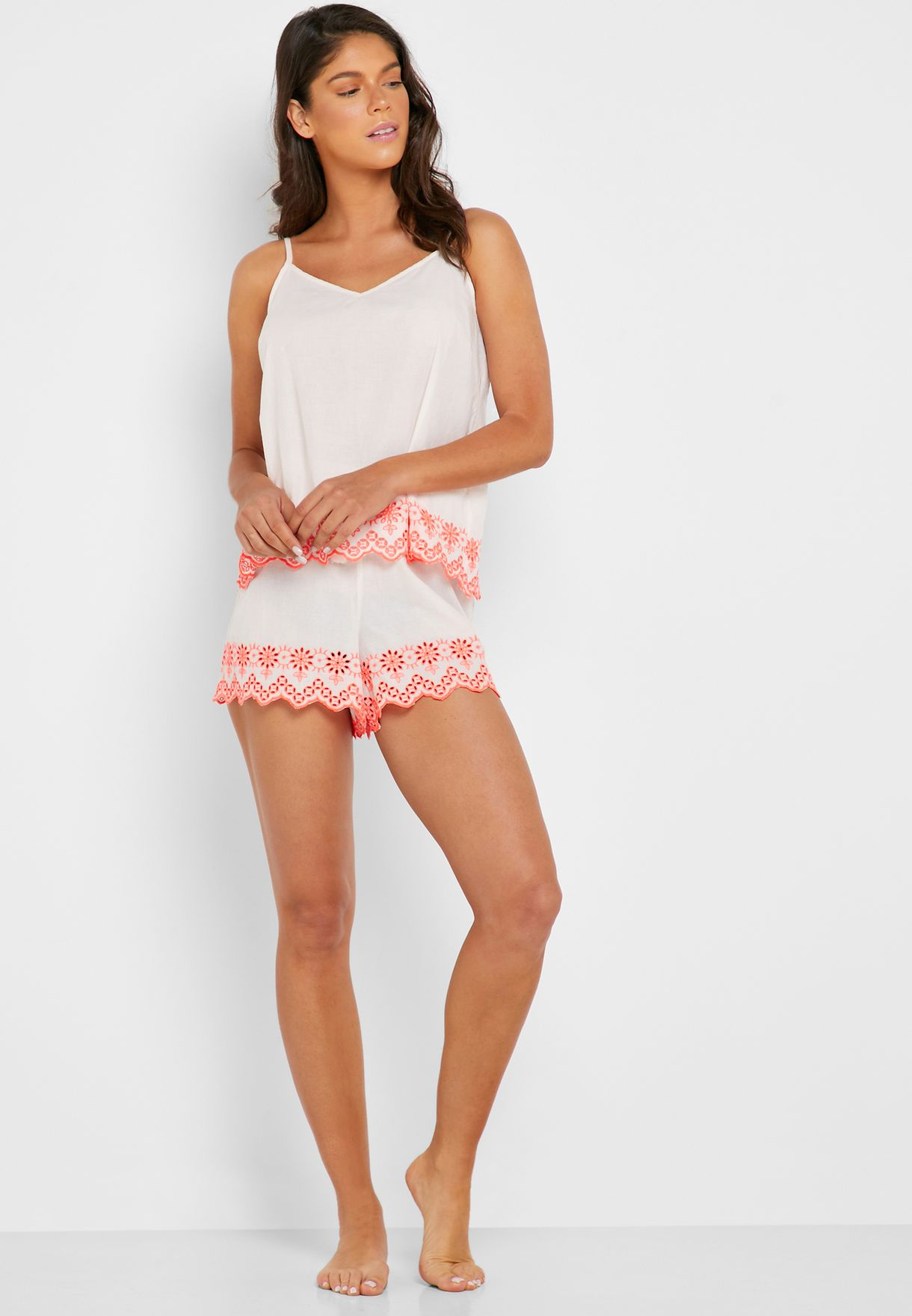 Scallop Embroidered Top & Shorts Set