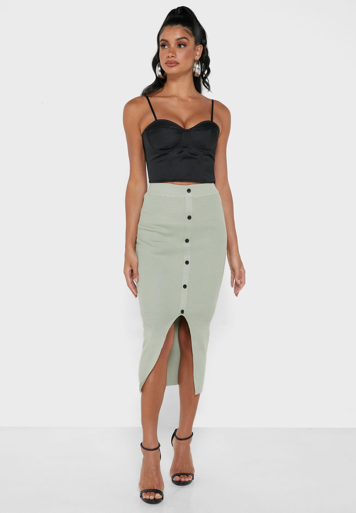 Ribbed Button Down Midi Skirt Co Ord