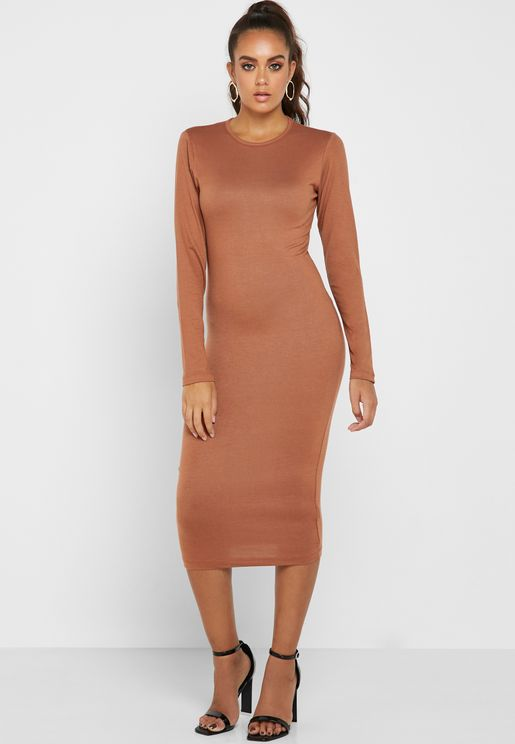 29731ec828 Crew Neck Bodycon Dress