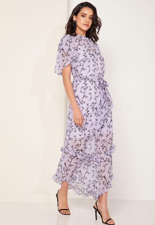 Daybreak Floral Print Ruffle Detail Maxi Dress