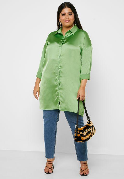 Plus Size Satin Shirt