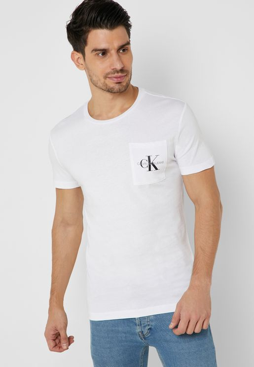 Monogram Slim Pocket Crew Neck T-Shirt