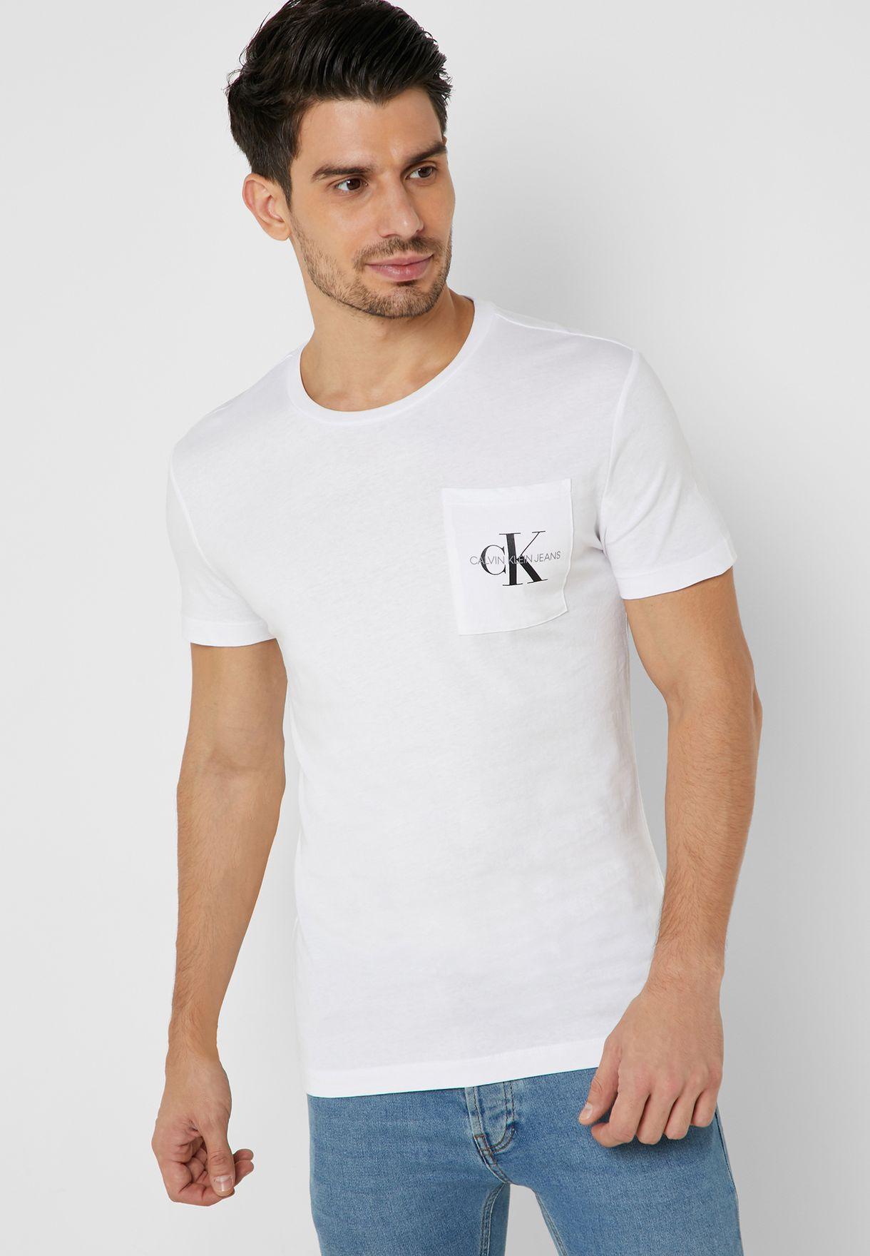 3e831bf53ac Shop Calvin Klein Jeans white Monogram Slim Pocket Crew Neck T-Shirt ...