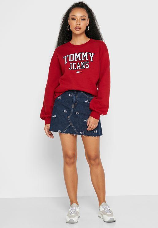 Denim Printed Mini Skirt