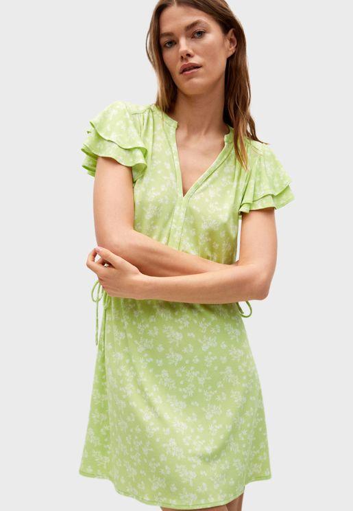 فستان ميني بطبعات ازهار