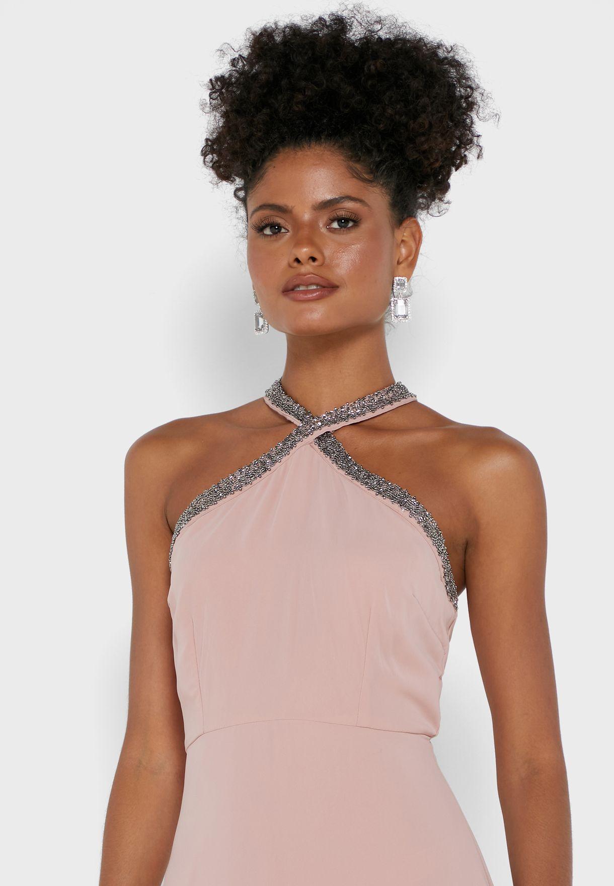 Blush Pink Embellished Halter Maxi Dress