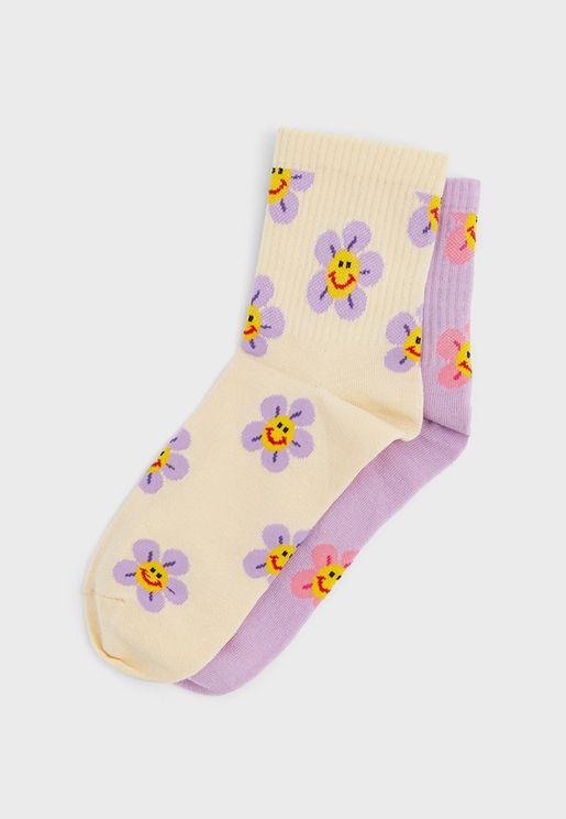 2 Pack Floral Print Ankle Socks